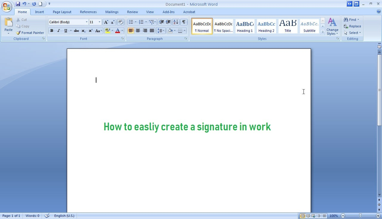 create signature in word