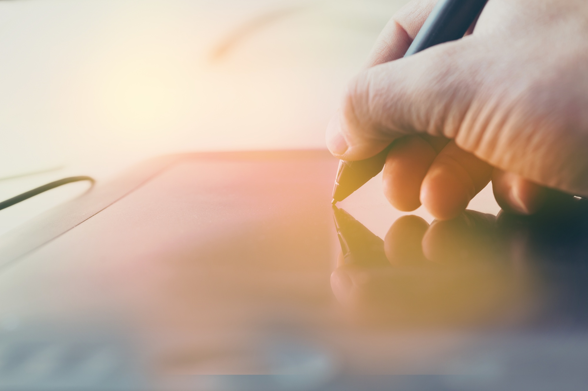 Concept of a digital signature on a tablet in the modern world