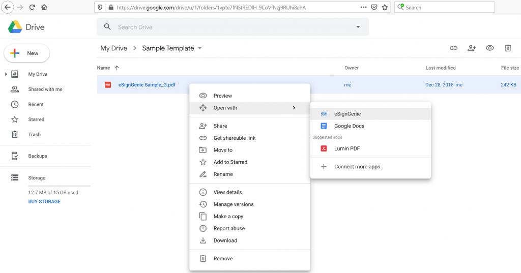 Screenshot displaying eSign Genie Google Drive plugin use