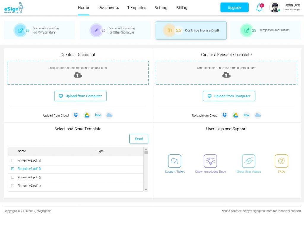 Screenshot displaying the homepage UI