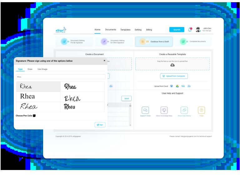 digital signature software | e Signature software displaying signature selection box