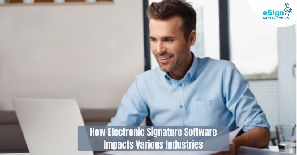 Image showing man looking at a computer. Use our eSign app to eSign documents easily, securely, and in almost any industry! Read more to find out how professionals use eSign Genie!