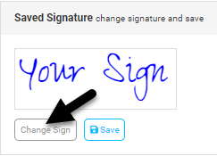 Screenshot displaying how to change your saved signature.