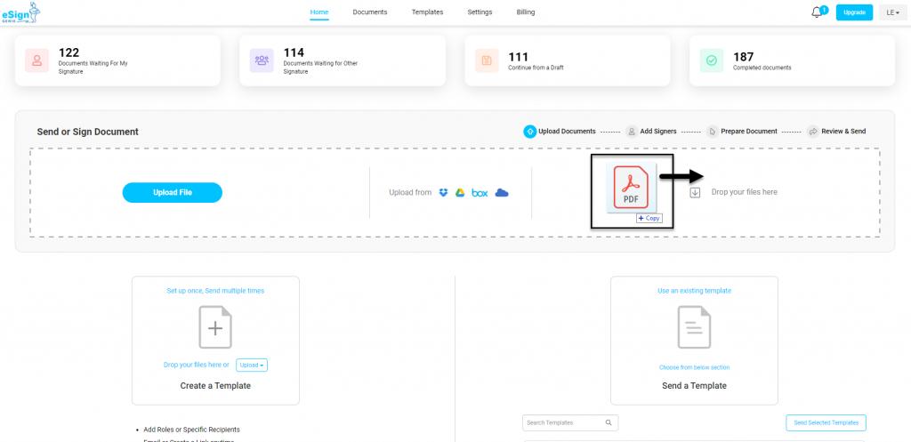Screenshot displaying the drag and drop PDF option