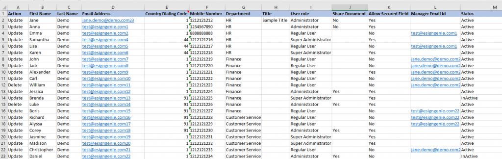 Screenshot displaying a user upload spreadsheet example