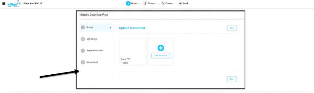 Screenshot displaying the guided document process