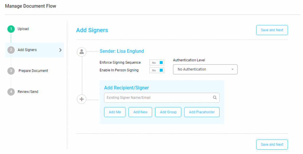 Screenshot displaying the step 2, add signers, of the guided document process