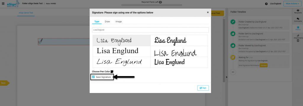 Screenshot displaying default save signature option
