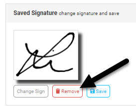 Screenshot displaying remove button for saved signature
