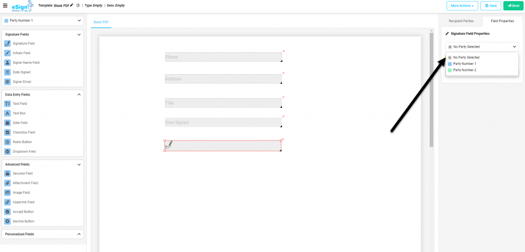 Screenshot displaying No Party Selected option.