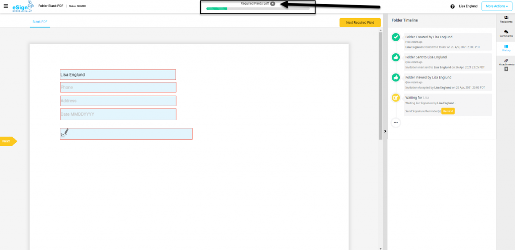 Screenshot displaying status for required fields left to complete.