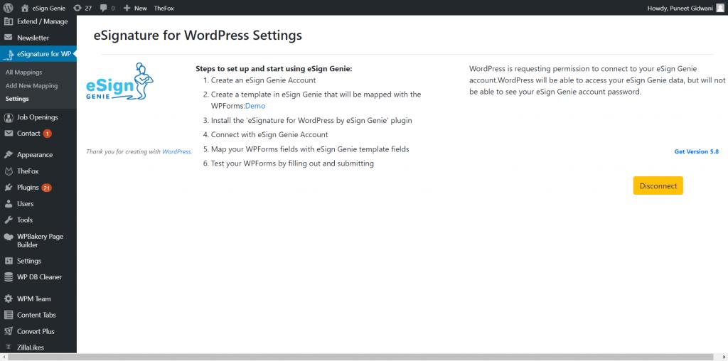 Screenshot displaying eSignature for WordPress settings page 4th src