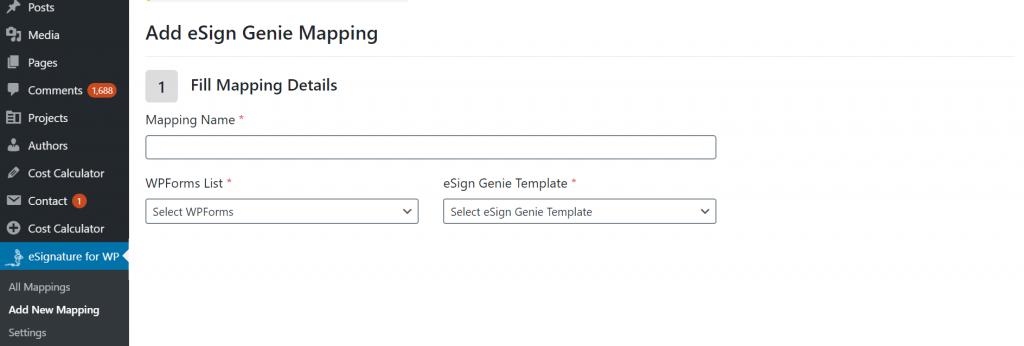 Screenshot displaying eSign Genie WP mapping sixth src