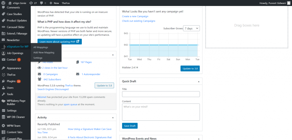 Screenshot displaying the eSignature for WordPress mapping and installation first screen1