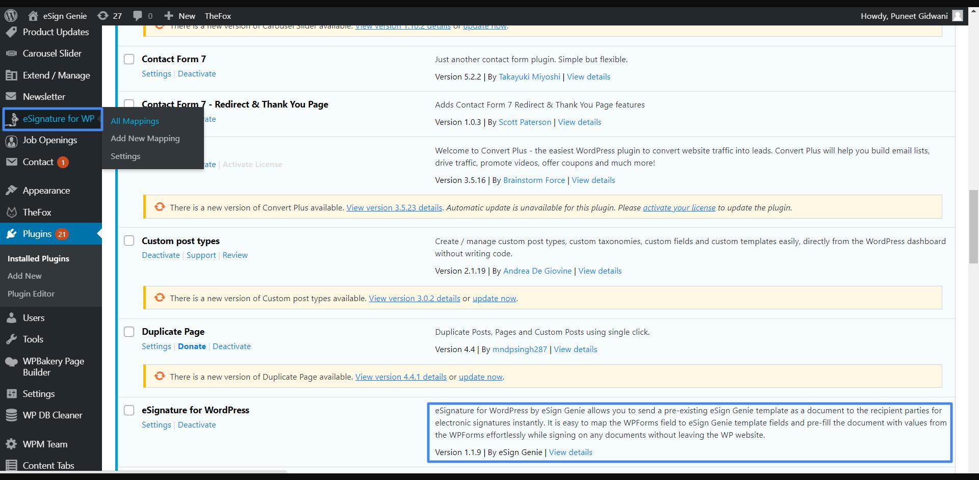 eSignature for wordpress plugin screenshot two