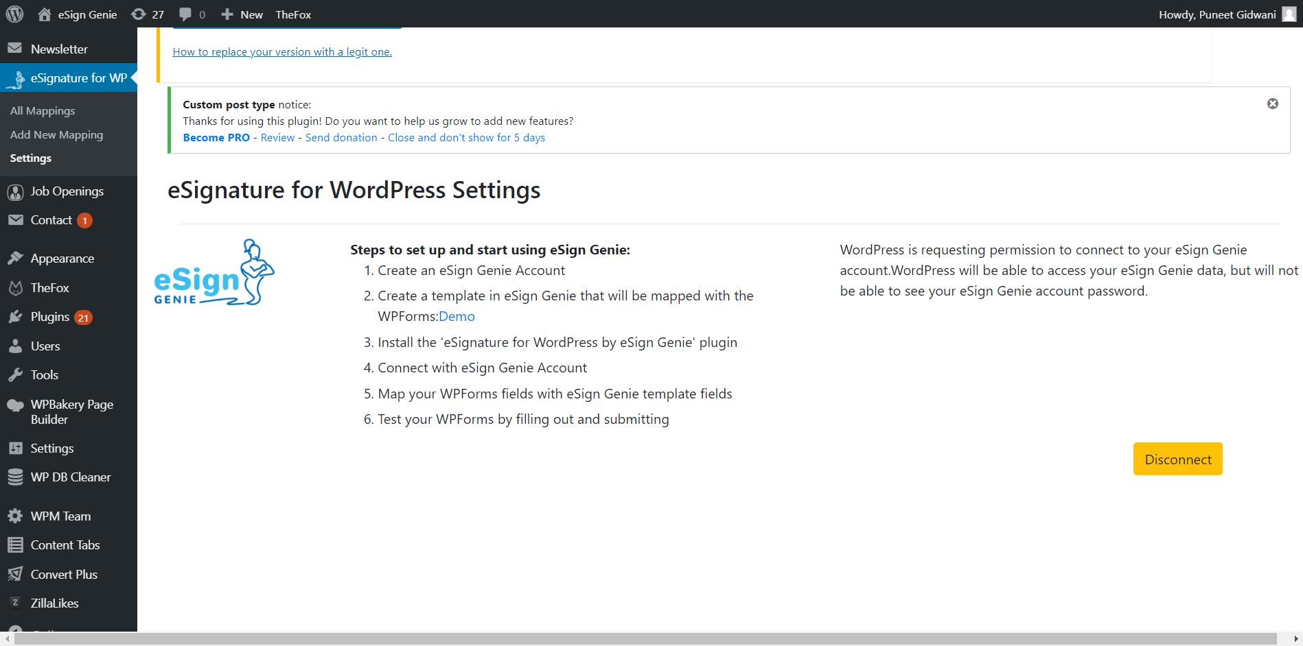eSignature for wordpress plugin screenshot five